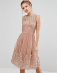 Chi Chi London Premium Lace Midi Dress With Scalloped Back Rose Nude Pink