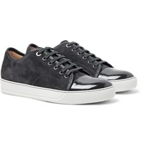 Lanvin Cap Toe Suede And Patent Leather Sneakers Charcoal