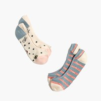 Madewell Two Pack Good Vibes Low Profile Socks Cream Blue Red Multi