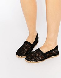 London Rebel Canary Black Crochet Espadrilles Black