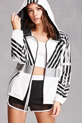 Forever 21 Ing2ing Reflective Windbreaker White Black