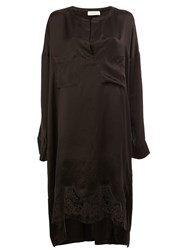Faith Connexion Lace Hem Long Fit Blouse Black