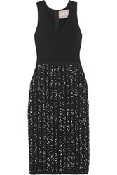 Lela Rose Ribbed Knit And Boucle Tweed Midi Dress Black