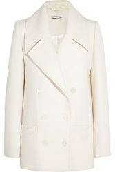 Carven Double Breasted Wool Coat White