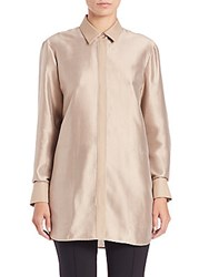 Lafayette 148 New York Carlise Silk Shantug Blouse Tea Flower