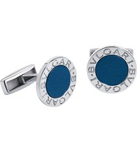 Bulgari Sterling Silver And Lapis Cufflinks