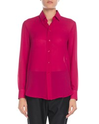 Saint Laurent Classic Chiffon Button Front Blouse Fuchsia