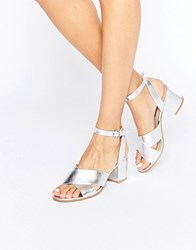 London Rebel Mid Heel Sandal Silver Pu