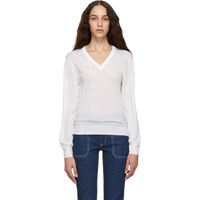 Chloe White Wool V Neck Sweater