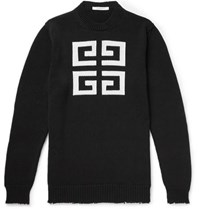 Givenchy Distressed Logo Intarsia Cotton Sweater Black
