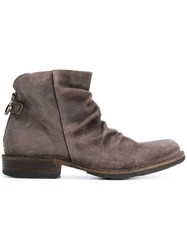 Fiorentini Baker Ruched Ankle Boots Leather Suede Rubber Brown