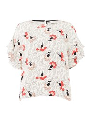 Part Two Kris Floral Ruffle Sleeve Top Cream