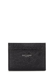 Saint Laurent Crocodile Effect Black Leather Card Holder