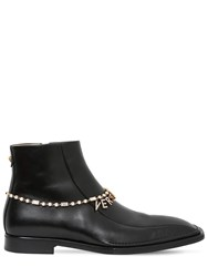Versace Quentin Leather Boots W Logo Chain Black