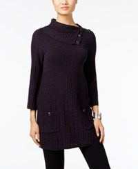 Styleandco. Style Co. Turtleneck Tunic Sweater Only At Macy's Dark Grape Black