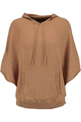 Enza Costa Cotton And Cashmere Blend Hooded Top Brown