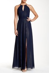 Phoebe Couture Sleeveless High Neck With Slit Gown Blue