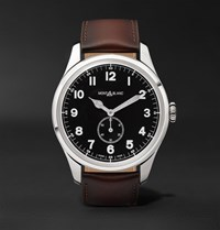 Montblanc 1858 Automatic 44Mm Stainless Steel And Leather Watch Brown