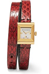 Gucci Ayers And Gold Tone Watch Red