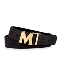 Mcm Coated Canvas Monogram Buckle Belt Black