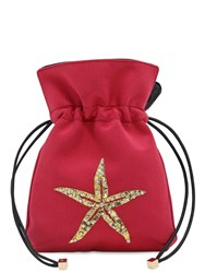Les Petits Joueurs Nano Trilly Satin And Crystal Star Clutch Hot Pink