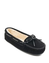 Minnetonka Cally Suede Faux Fur Lined Moccasins Black