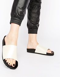 Monki Liza White Footbed Slider Flat Sandals