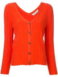 Torrazzo Donna Ribbed V Neck Cardigan Women Rayon One Size Yellow Orange