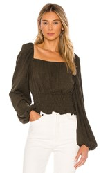 Line And Dot Carmen Cinched Waist Blouse In Olive.