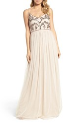 Adrianna Papell Women's Spaghetti Strap Embroidered Bodice Gown