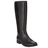 John Lewis Sally Long Quilted Leather Boots Black