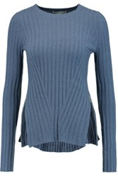 Autumn Cashmere Zip Detailed Ribbed Knit Sweater Azure