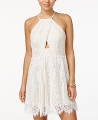 Trixxi Juniors' Lace Fit And Flare Dress White