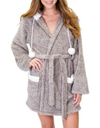 Pj Salvage Hooded Short Robe Grey