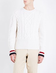Thom Browne Contrast Trim Cable Knit Wool Jumper White