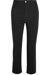 Barbara Casasola Cropped High Rise Flared Jeans Black