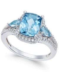 Macy's London Blue Topaz 2 5 8 Ct. T.W. And White Topaz 1 4 Ct. T.W. Ring In Sterling Silver