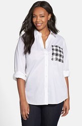 Michael Michael Kors Sequin Pocket Roll Sleeve Shirt Plus Size White