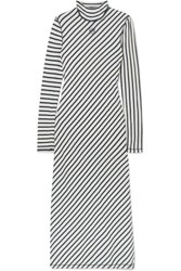 Loewe Striped Cotton Jersey Midi Dress Navy