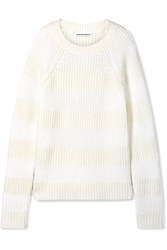 Alexander Wang T By Striped Wool Blend Sweater White