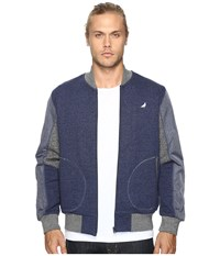 Staple Pieced Loopback Bomber Jacket Navy Men's Jacket