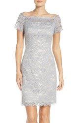 Adrianna Papell Women's Off The Shoulder Lace Sheath Dress Silver Blue Almond