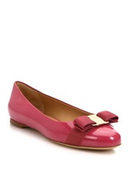 Salvatore Ferragamo Varina Patent Ballet Flats Oxford Blue Red Pink Black New Bisque