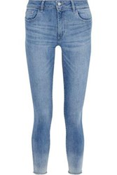 Dl1961 Woman Florence Cropped Faded Mid Rise Skinny Jeans Mid Denim
