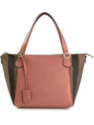 Fendi Pequin 'Boston' Tote Pink And Purple