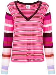 Michel Klein Striped V Neck Jumper Pink And Purple