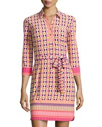 Donna Morgan Stretch Knit Geometric Shirtdress Pink Multicolor