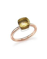 Pomellato Nudo Mini Ring With Faceted Lemon Quartz In 18K Rose And White Gold Lemon Rose