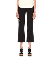 Whistles Kelby Flared Cropped Woven Trousers Black
