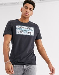 Tom Tailor T Shirt With Large Chest Print Grey